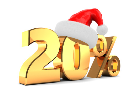 3d illustration of 20 percent christmas discount 版權商用圖片