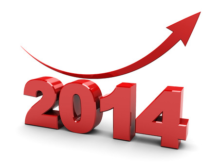 3d illustration of 2014 year rising graph over white background Foto de archivo