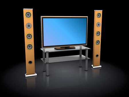 3d illustration of home theatre set over dark background illustration
