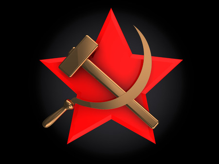 abstract 3d illustration of soviet symbol over black background illustration