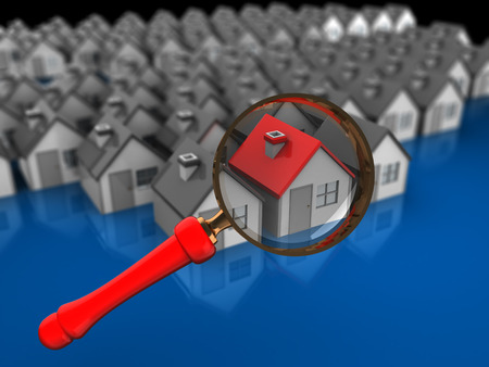 supervision: abstract 3d illustration of house searching concept Stock Photo