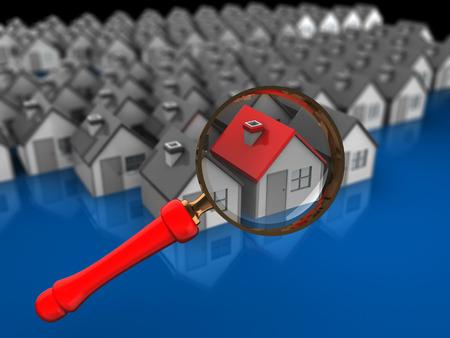 supervisión: Ilustración 3d abstracto de concepto de casa en busca