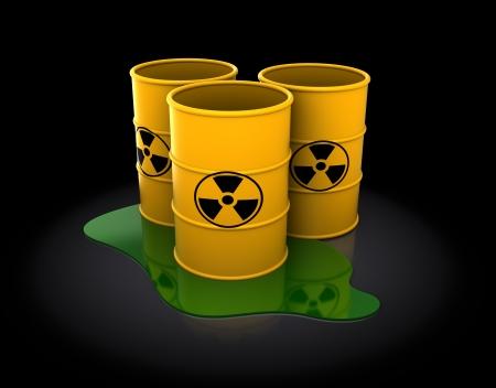 toxic barrels: 3d illustration of three radioactive barrels over dark background