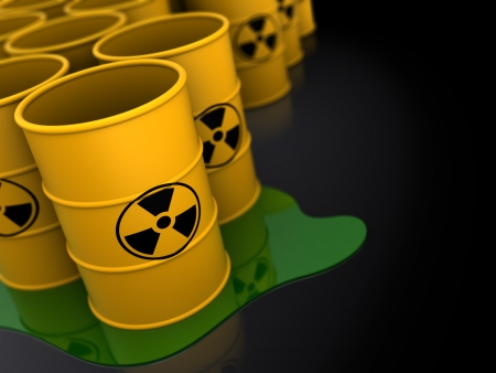 3d illustration of radioactive barrels dark background illustration