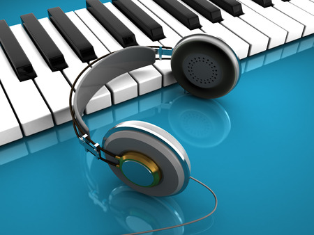 3d illustration of music keyboard with headphones, over cyan background illustration