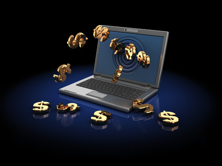 bankroll: 3d illustration of computer with dollar signs, over dark background Stock Photo