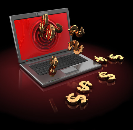 bankroll: 3d illustration of laptop computer with dollar signs, over dark red background