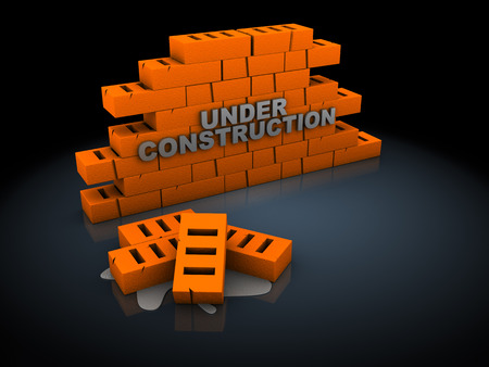 3d illustration of bricks with under construction sign, over dark background illustration