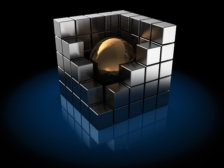 metall: abstract 3d illustration of metal cube with sphere inside Stock Photo