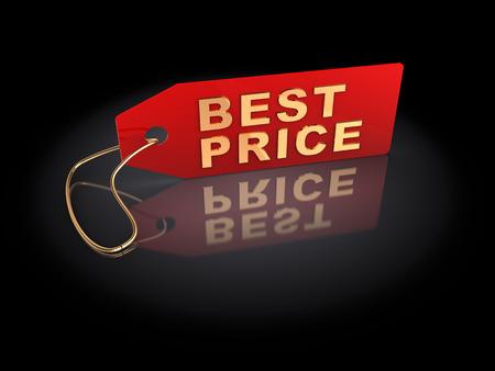 best price: 3d illustration of best price tag, over dark background