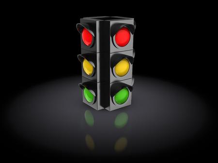 stoplight: 3d illustration of traffic light over dark background