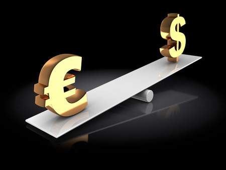 inflation: 3d illustration of euro and dollar signs on scale board, over dark background Stock Photo