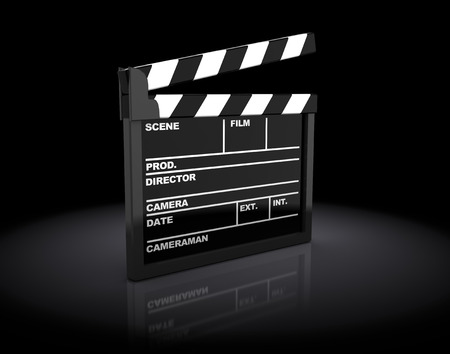 clap: 3d illustration of cinema clap over dark background
