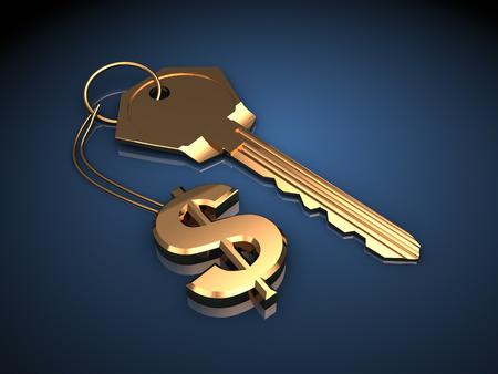 3d illustration of golden key with dollar symbol