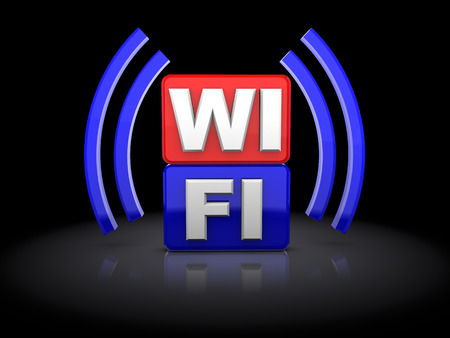 3d illustration of wifi symbol over black background illustration