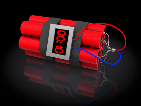 threat of violence: 3d illustration of dynamite with timer, over black background