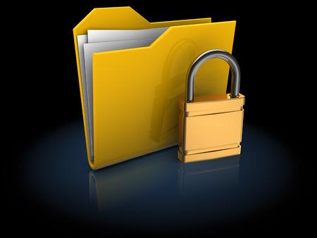 encryption icon: 3d illustration of locked folder over black background Stock Photo