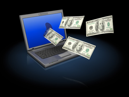 flying money: abstract 3d illustration of laptop computer with flying money