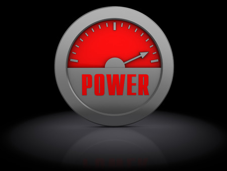 abstract 3d illustration of power meter over black  illustration