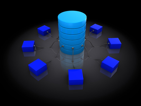 dataflow: abstract 3d illustration of network structure, over black  Stock Photo