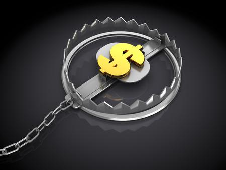 3d illustration of trap with dollar sign inside illustration