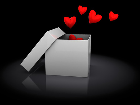 3d illustration of opened box with hearts, over black  illustration