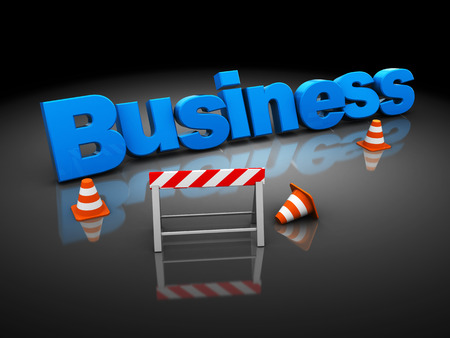 3d illustration of business sign construction, over black  illustration