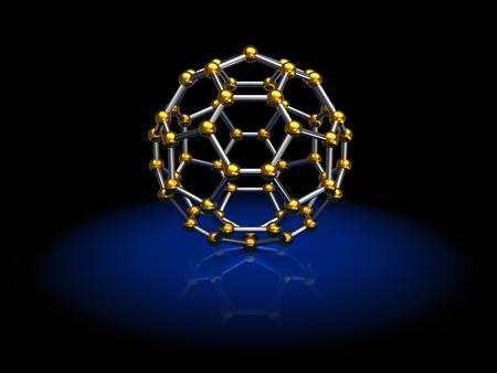 3d illustration of molecule model over black  illustration