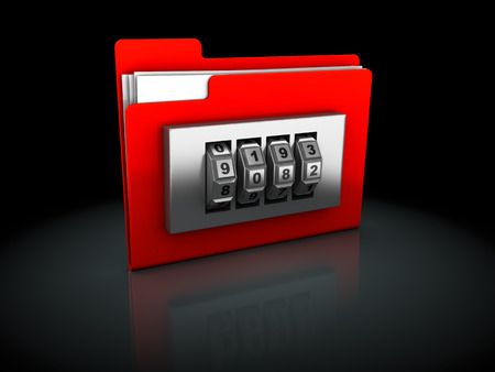 3d illustration of red folder protected by code lock, over black  illustration
