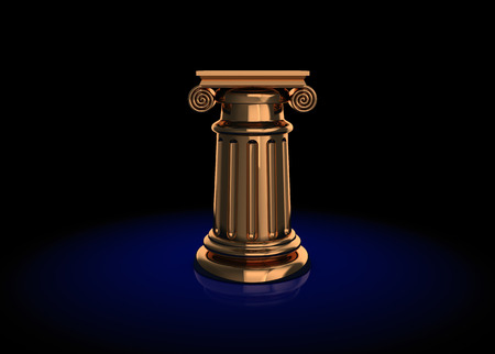 abstract 3d illustration of colden column or podium over dark background