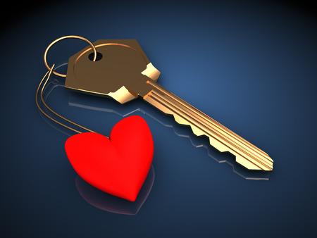 3d illustration of golden key with heart, over dark blue