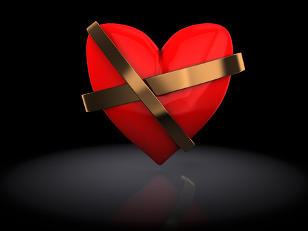repaired: 3d illustration of red heart repaired over black