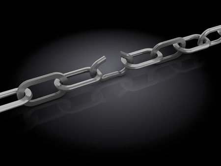 3d illustration of chain with broken link, over black  illustration