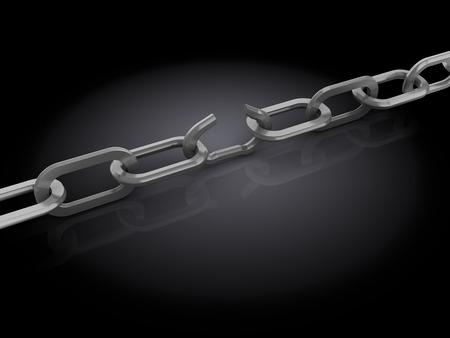 broken link: 3d illustrazione di catena con link non funzionante, sul nero Archivio Fotografico