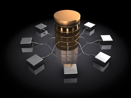 dataflow: abstract 3d illustration of database server, over black