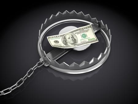 3d illustration of trap with dollar banknote, over black  illustration