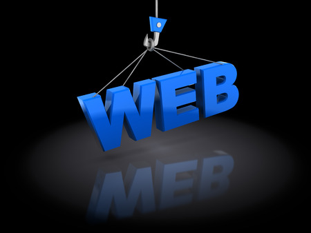 constructing: abstract 3d illustration of web on crane hook, internet development concept Stock Photo