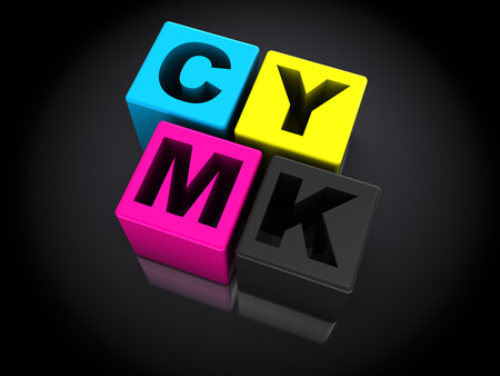 polygraphic: 3d cmyk symbol over black  Stock Photo