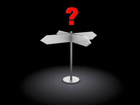 crossroads sign: 3d illustration of index and question, choosing direction concept, over black  Stock Photo
