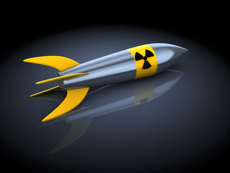 3d illustration of nuclear missile over dark