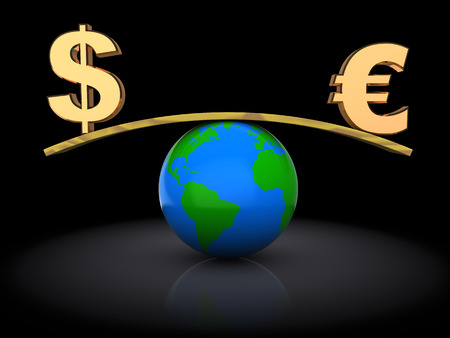 trading board: 3d illustration of dollar and euro over earth globe Stock Photo