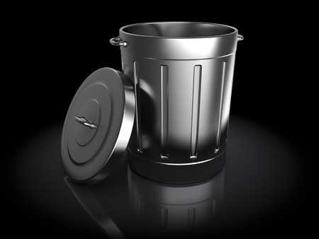 dispose: 3d illustration of trash can over black  Stock Photo