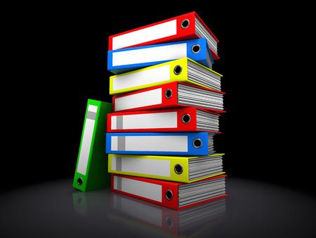3d illustration of archive folders stack over black  illustration