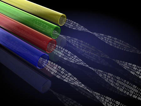 3d illustration of optic fiber with binary code inside illustration
