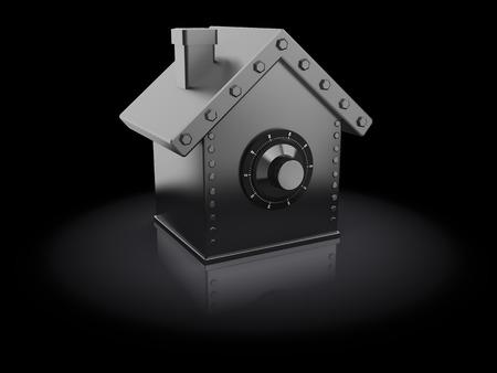 safe house: abstract 3d illustration of house shaped safe, over black background
