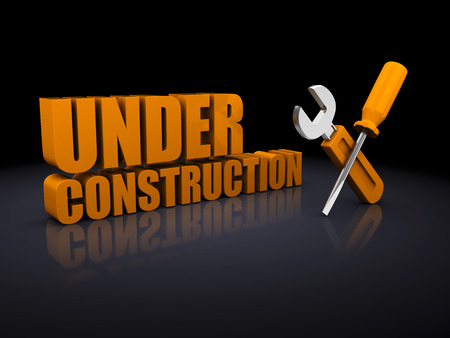 under construction sign: 3d illustration of under construction sign over black background