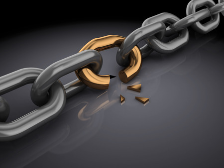 weakest: 3d illustration of broken chain, over black background Stock Photo