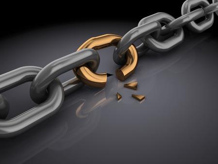 3d illustration of broken chain, over black background Foto de archivo