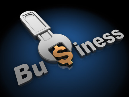 3d Illustration Of Wrench Tuning Dollar Sign In Word Business