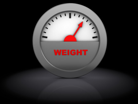 3d illustration of weight meter, over black background illustration